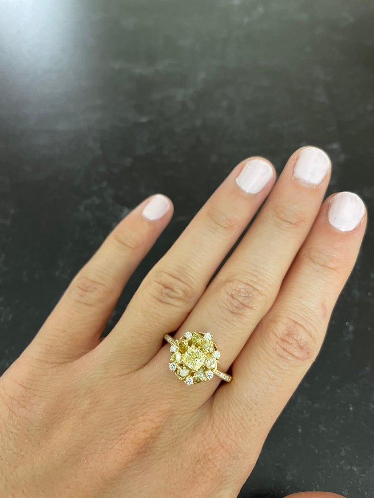 Princess Cut 0.58 Carat Princess Yellow Diamond Ring with Multi-Color Diamond 18k Yellow Gold For Sale
