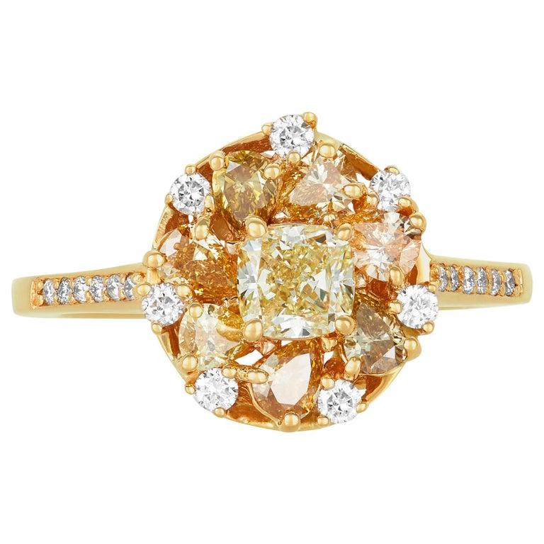 0.58 Carat Princess Yellow Diamond Ring with Multi-Color Diamond 18k Yellow Gold For Sale