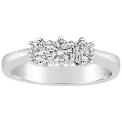 Roman Malakov 0.58 Carat Three-Stone Round Diamond Ring