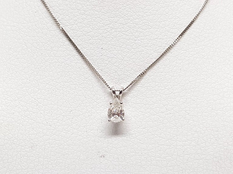Contemporary 0.58 Carat White Gold Necklace Diamond Pear Shape Solitaire Pendant For Sale