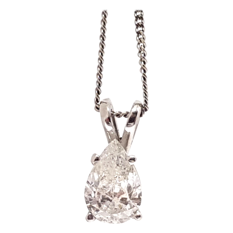 0.58 Carat White Gold Necklace Diamond Pear Shape Solitaire Pendant