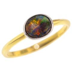 0.59 Carat Australian Black Opal in 18 Karat and Platinum Custom Paloma Ring