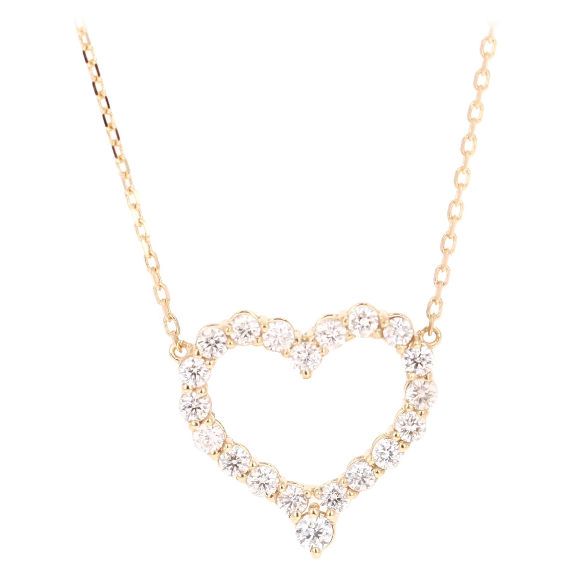 Diamond Heart Pendant 14 Karat Yellow Gold Chain Necklace