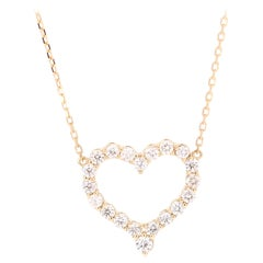 Diamond Heart Pendant 14 Karat Yellow Gold Chain Necklace