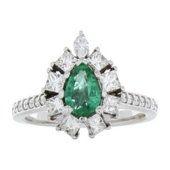 0.59 Carat Emerald Pear & Diamond Ring in 14K White Gold