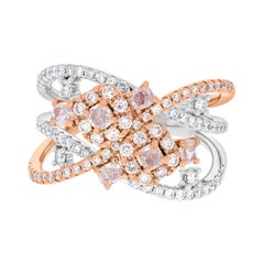 0.5ct Pink Diamond Ring with 0.75tct Diamonds Set in 14K Two Tone Gold