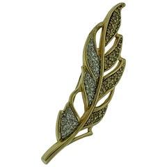 0.6 Carat Leaf Shaped Diamond 14 Karat Gold Pin or Broach, Affordable, Estate