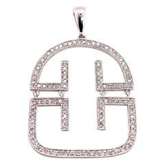 0.6 Carat White Diamond Modern Pendant Necklace