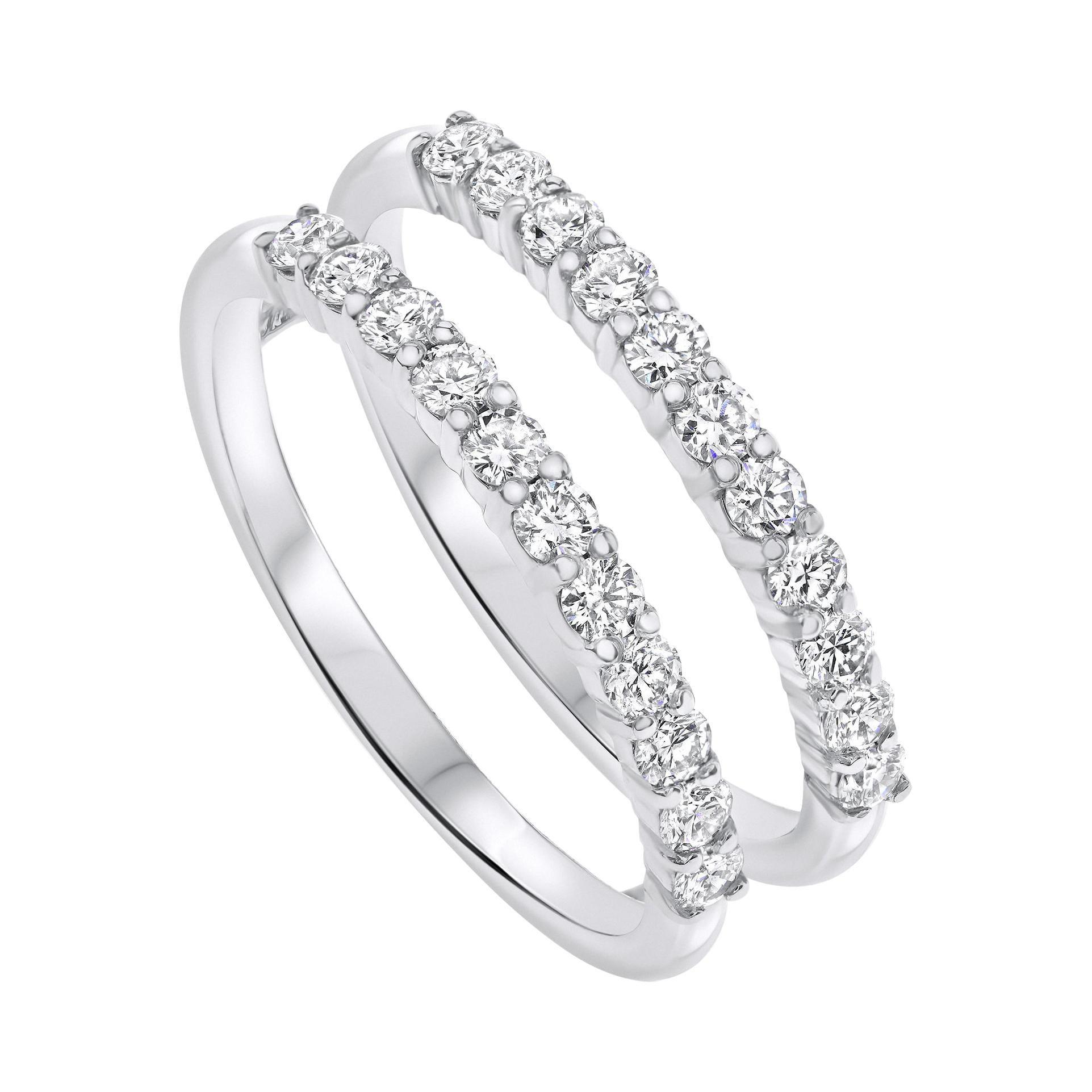 0.60 Carat Diamond Double Band Wedding Ring in 14k White Gold Shlomit Rogel