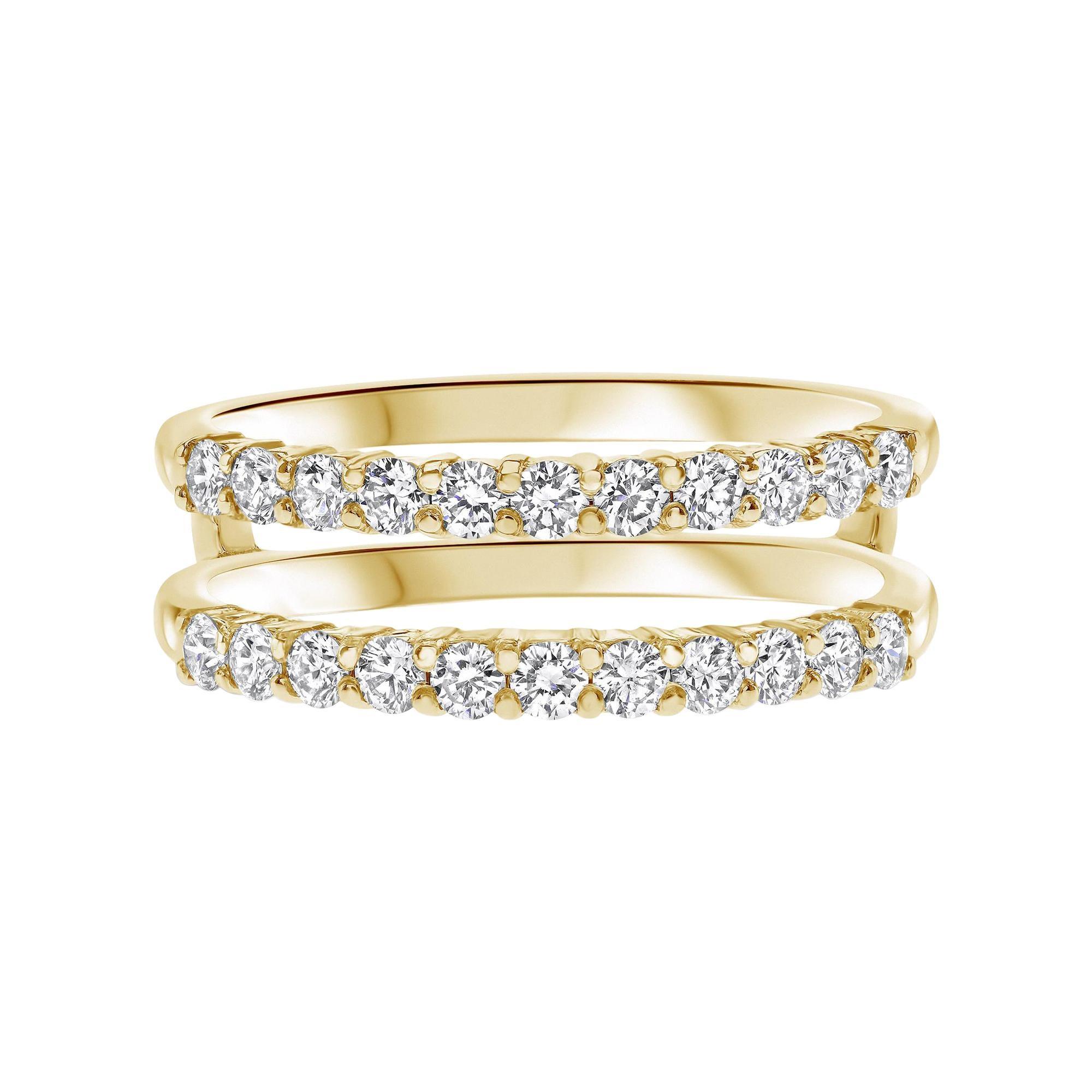 0.60 Carat Diamond Double Band Wedding Ring in 14K Yellow Gold, Shlomit Rogel