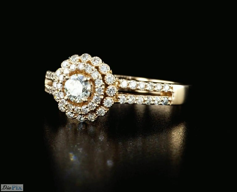 0.60 Carat Diamond Halo Engagement Ring with Rose Gold In New Condition For Sale In New York, NY