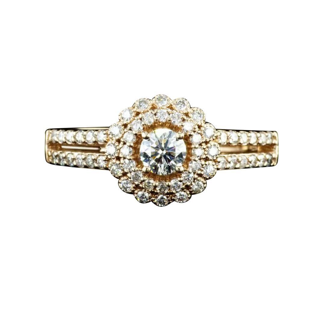 0.60 Carat Diamond Halo Engagement Ring 14K Rose Gold