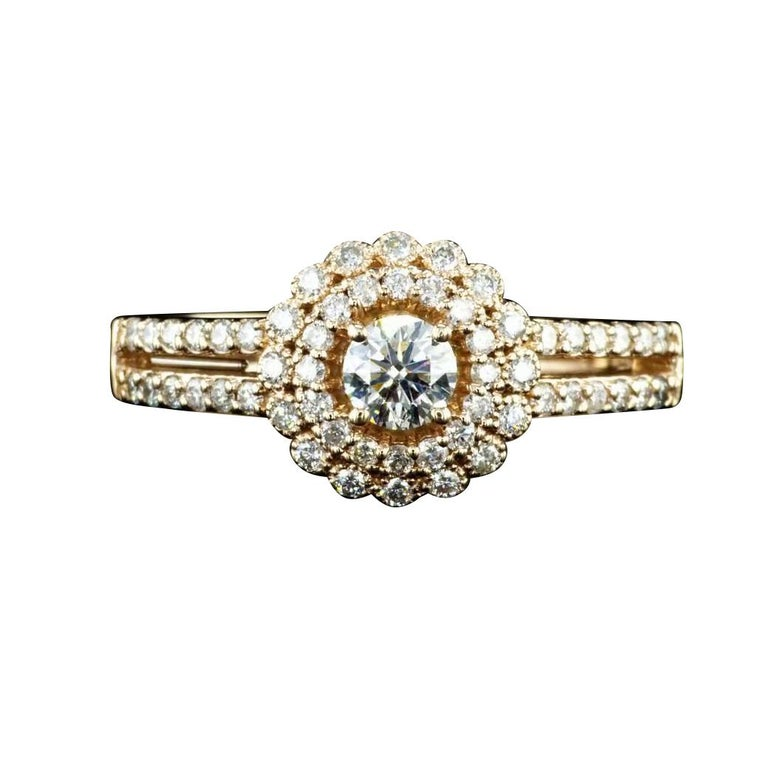 0.60 Carat Diamond Halo Engagement Ring with Rose Gold For Sale