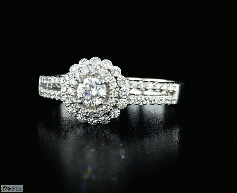 Art Deco 0.60 Carat Diamond Halo Engagement Ring 14K White Gold For Sale