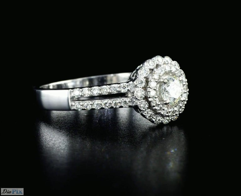 Round Cut 0.60 Carat Diamond Halo Engagement Ring 14K White Gold For Sale
