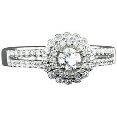 0.60 Carat Diamond Halo Engagement Ring 14K White Gold