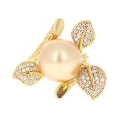 Diamond and South Sea Pearl 18 Karat Yellow Gold Ring
