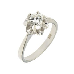 0.60 Carat Diamond White Gold Engagement Ring Vintage 1950s