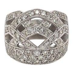 0.60 Carat Domed Diamond and 18 Karat White Gold Cocktail Ring