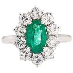 "0.60 Carat Emerald 1 Carat Diamonds 18 Karat White Gold ""Pompadour"" Ring"