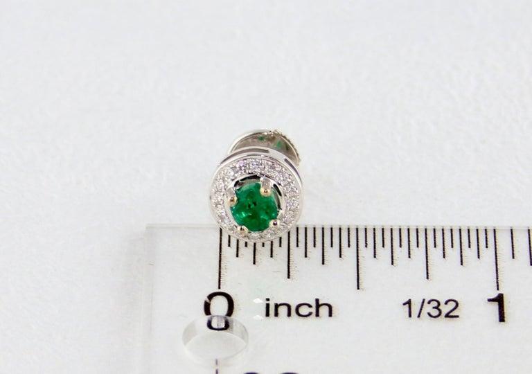0.60 Carat Emerald Diamond Gold Stud Earrings For Sale 1