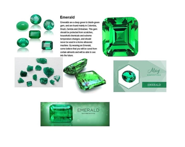 0.60 Carat Emerald Diamond Gold Stud Earrings For Sale 3