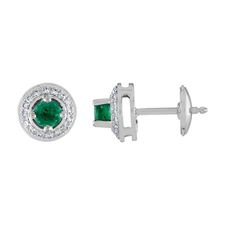 0.60 Carat Emerald Diamond Gold Stud Earrings For Sale
