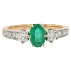 0.60 Carat Emerald Diamonds 18 Karat Yellow Gold Engagement Ring