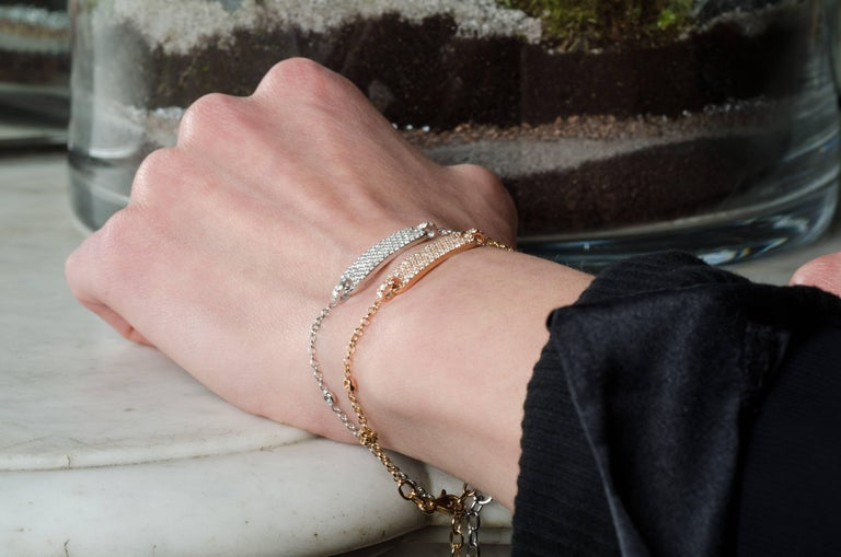 Contemporary 0.60 Carat Round Diamonds Bracelets Gold Chain Bracelets Diamond Gold Bracelet  For Sale