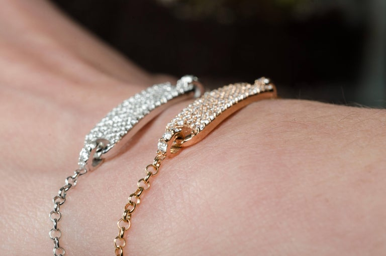 Round Cut 0.60 Carat Round Diamonds Bracelets Gold Chain Bracelets Diamond Gold Bracelet  For Sale