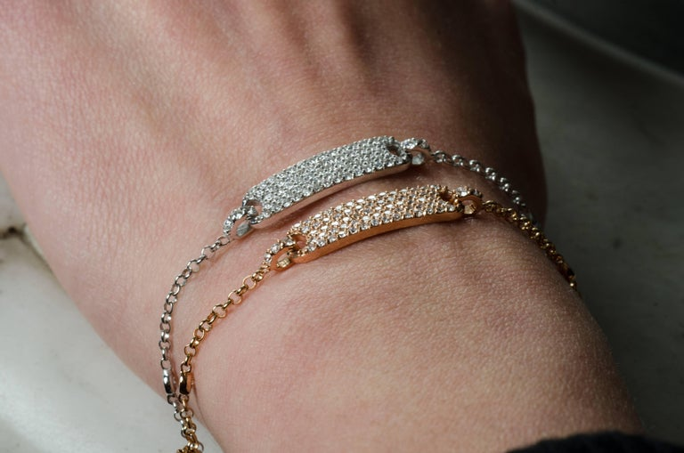 0.60 Carat Round Diamonds Bracelets Gold Chain Bracelets Diamond Gold Bracelet  In New Condition For Sale In Herzliya, IL