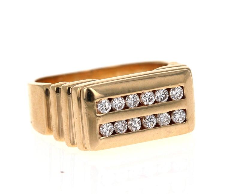 Modern 0.60 Carat Men's Round Cut Diamond Band 14 Karat Yellow Gold For Sale