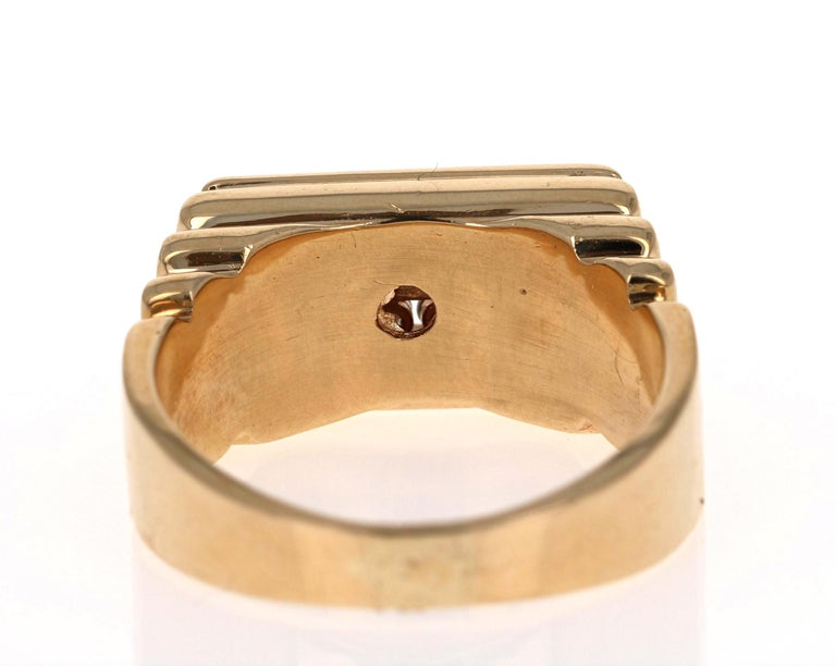 0.60 Carat Men's Round Cut Diamond Band 14 Karat Yellow Gold In New Condition For Sale In San Dimas, CA