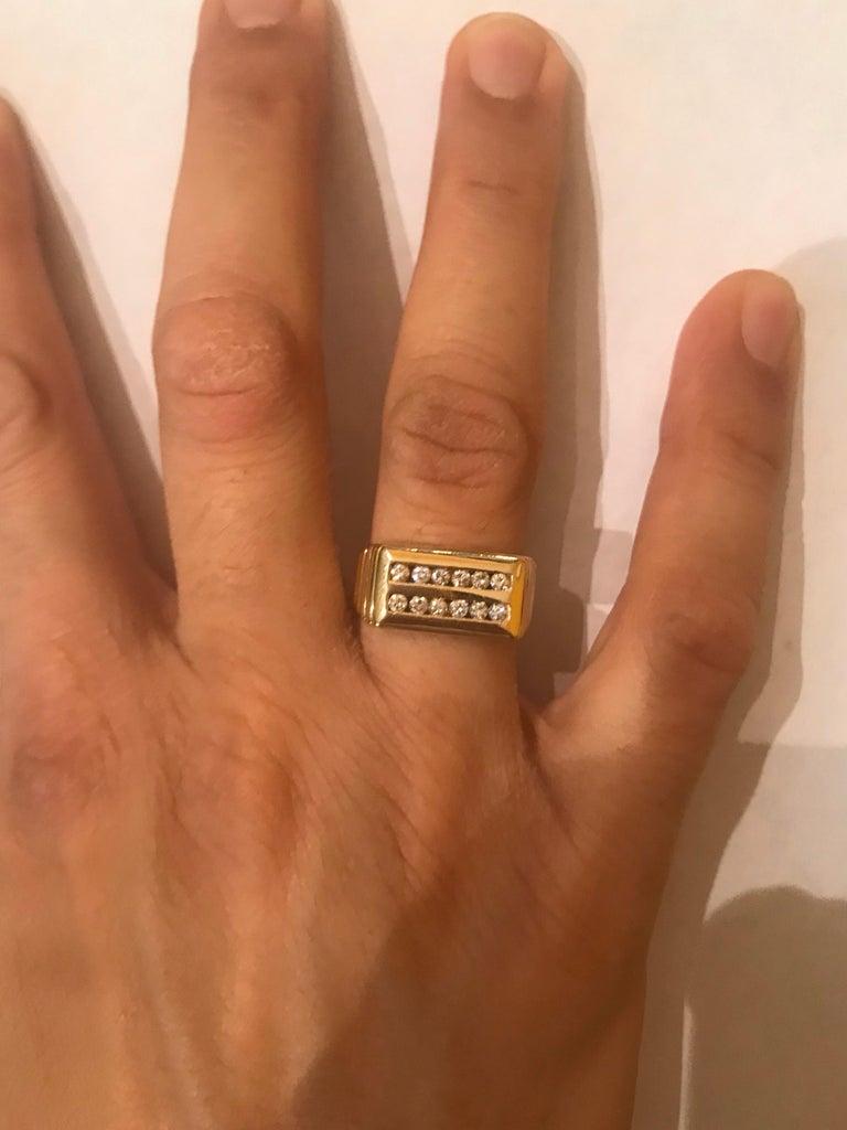 0.60 Carat Men's Round Cut Diamond Band 14 Karat Yellow Gold For Sale 2