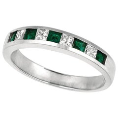 0.60 Carat Natural Diamond and Emerald Ring Band 14 Karat White Gold