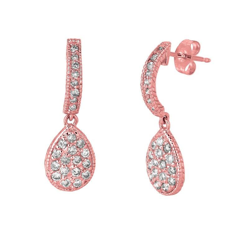 Round Cut 0.60 Carat Natural Diamond Pear Shape Drop Earrings G SI 14 Karat Yellow Gold For Sale