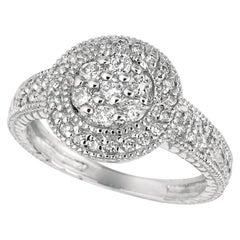 0.60 Carat Natural Diamond Round Ring Pave Band G SI 14 Karat White Gold