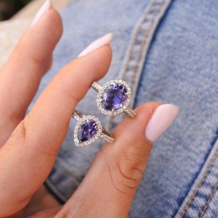 0.60 Carat Pear Tanzanite & Diamonds Ring in 14K in White Gold - Shlomit Rogel For Sale 1