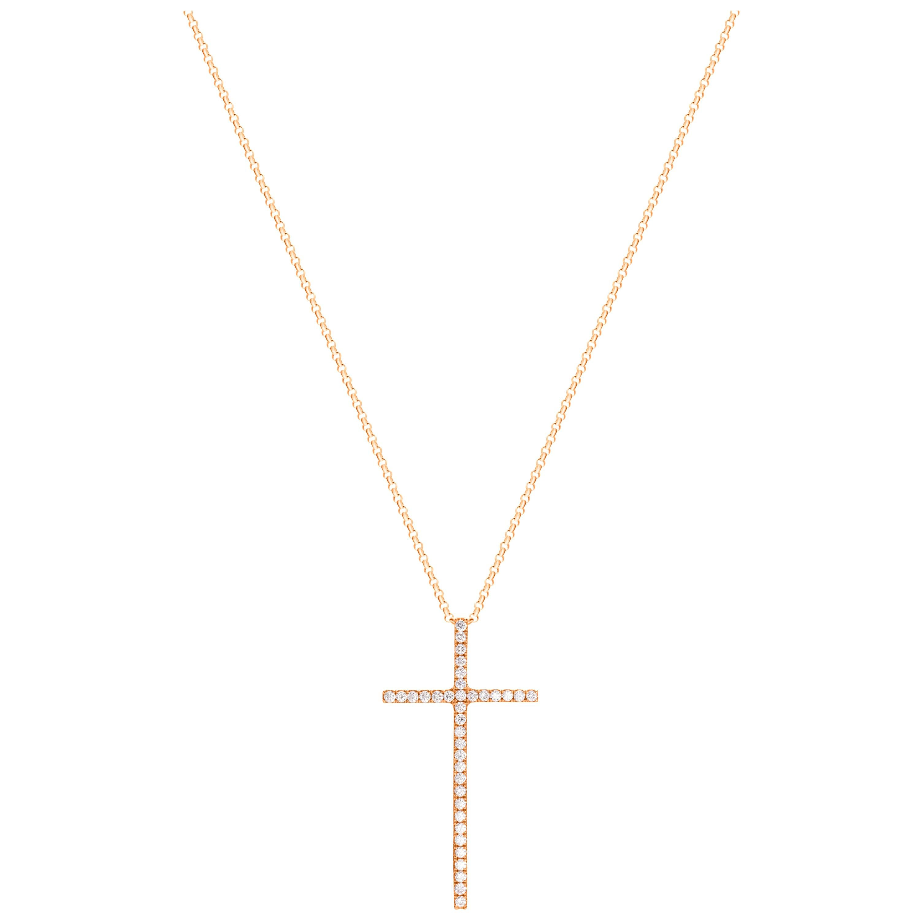 0.60 Carat Round Brilliant Cut Diamond 18 Karat Rose Gold Cross Pendant Necklace