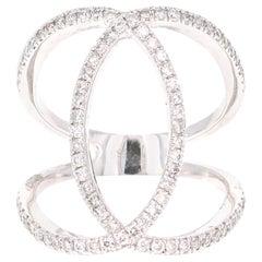 0.60 Carat Round Cut Diamond 14 Karat White Gold Cocktail Ring
