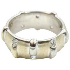 0.60 Carat Round Diamond Band 14 Karat White Gold