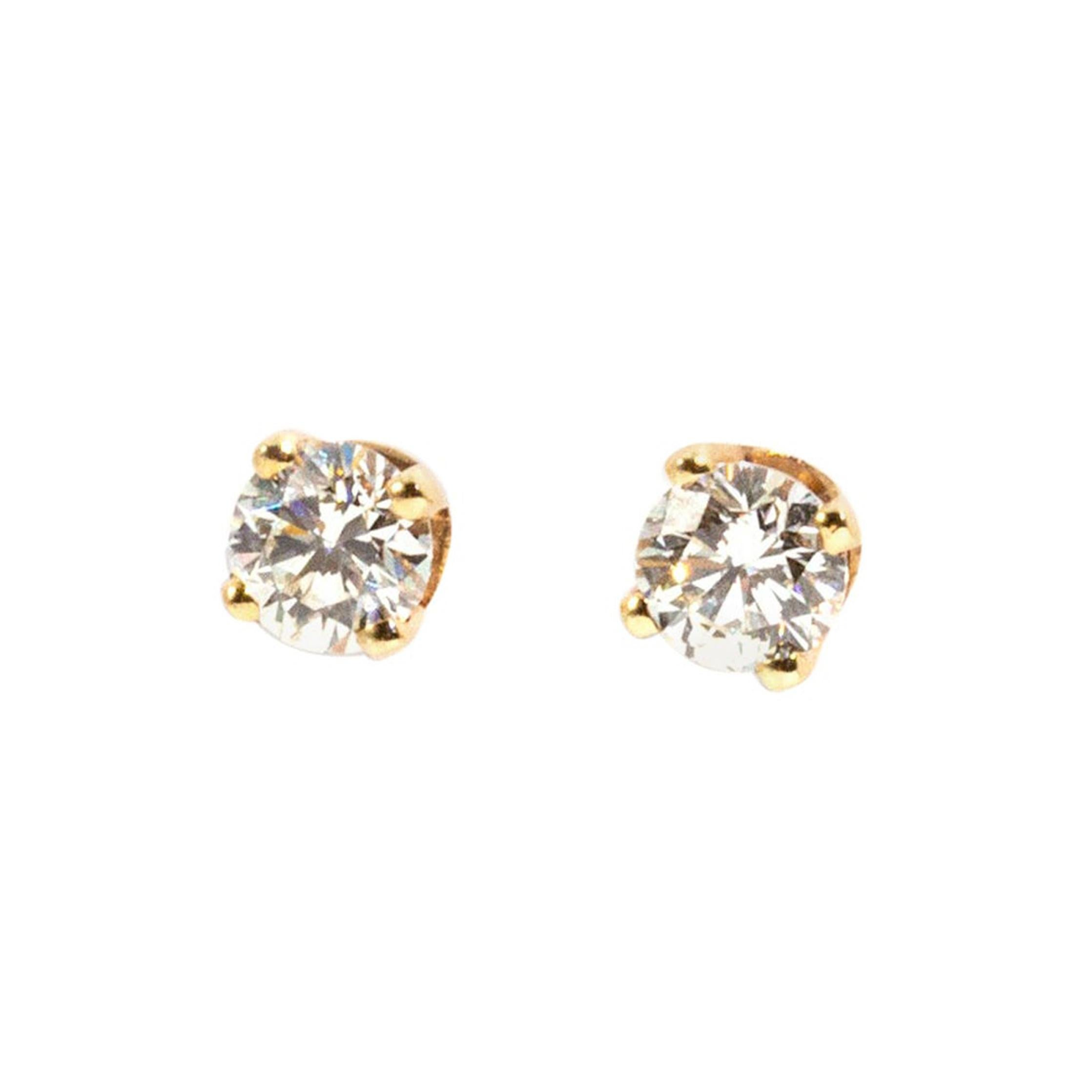 0.60 Carat Solitaire Round Brilliant Cut Diamond 9 Carat Gold Stud Earrings