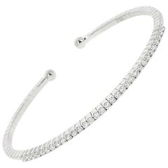 0.60 Carat GVS Round White Diamonds Tennis Bracelet/Cuff Bracelet 18K White Gold