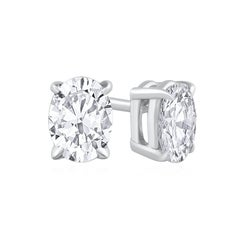 0.60 Carat Total Oval Cut Diamond Stud Earrings