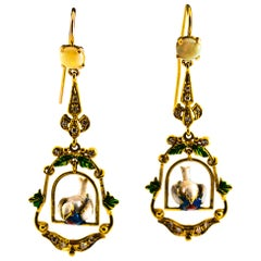 0.60 Carat White Diamond 1.30 Carat Opal Pearl Enamel Yellow Gold Drop Earrings