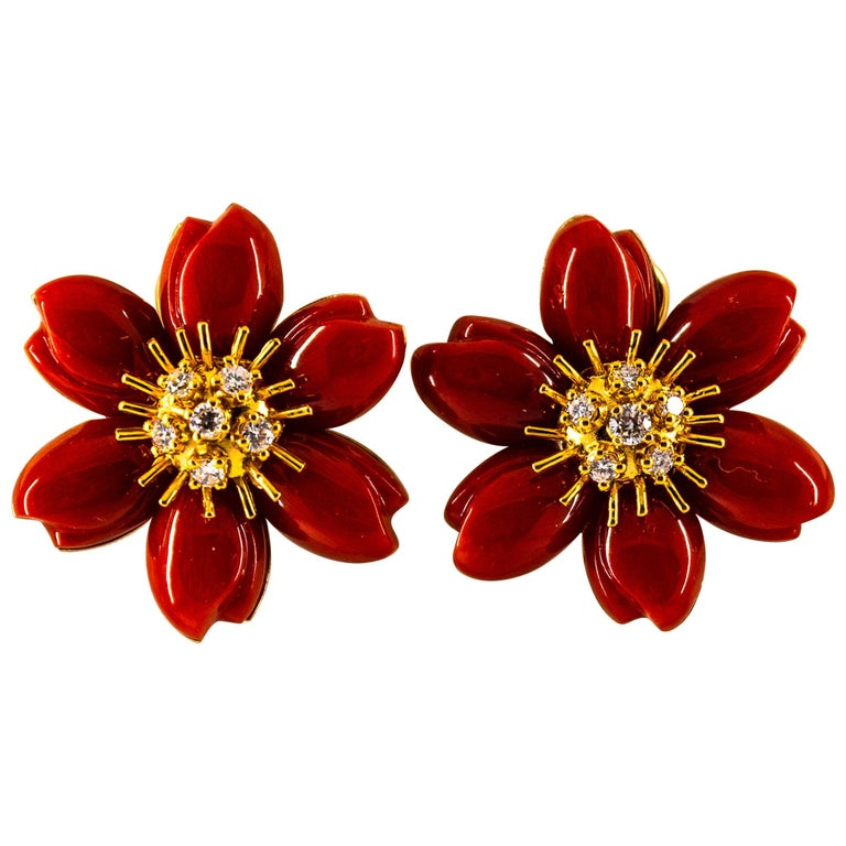 "0.60 Carat White Diamond Mediterranean Red Coral Yellow Gold ""Flowers"" Earrings For Sale"