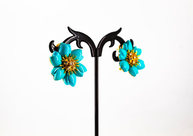 0.60 Carat White Diamond Turquoise Yellow Gold Dangle Clip-On Flowers Earrings For Sale 6
