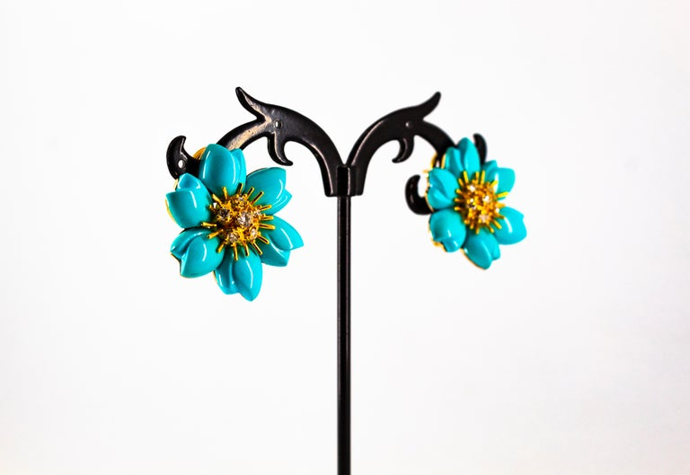 0.60 Carat White Diamond Turquoise Yellow Gold Dangle Clip-On Flowers Earrings For Sale 7