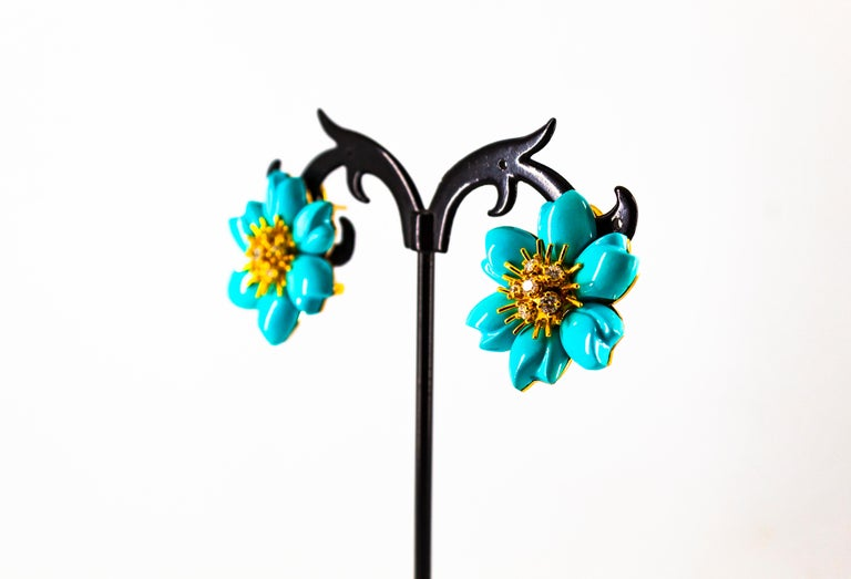 0.60 Carat White Diamond Turquoise Yellow Gold Dangle Clip-On Flowers Earrings For Sale 10