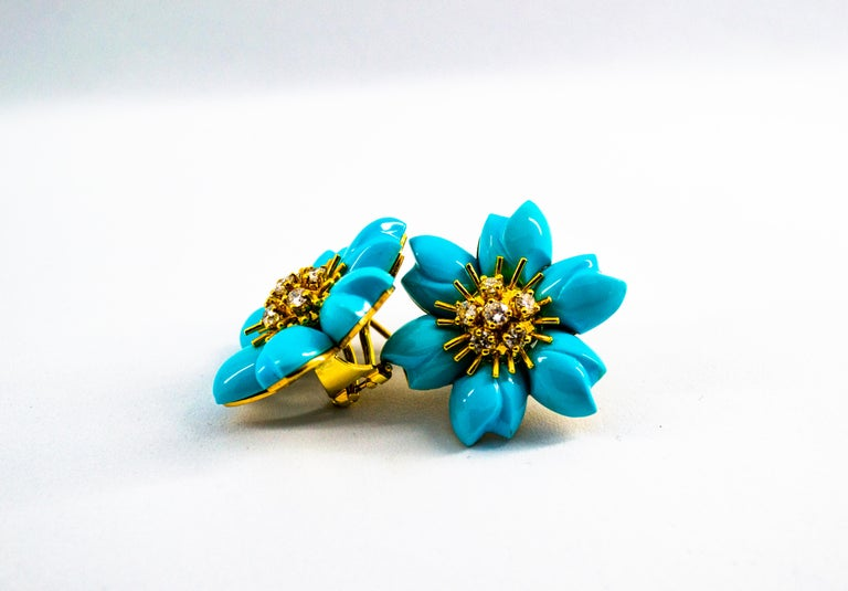 0.60 Carat White Diamond Turquoise Yellow Gold Dangle Clip-On Flowers Earrings For Sale 11